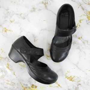 Dansko Black Leather Floral Mary Jane Clogs Shoes
